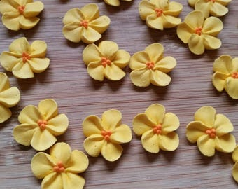 Small buttercup yellow royal icing flowers   -- Made to Order -- Edible cake decorations cupcake toppers  (24 pieces)