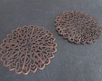2 large prints / 51 mm copper filigree charms