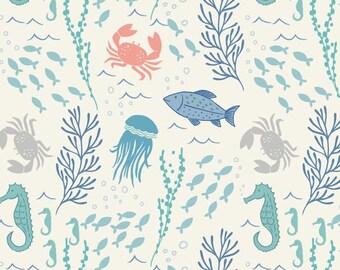 Designer cotton fabric In the Sea on White