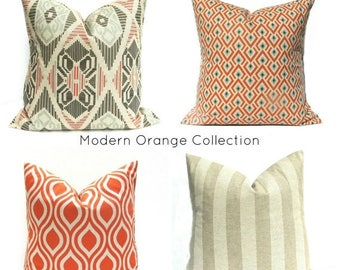 15% Off Sale Orange Pillow Euro Sham Orange Pillow Covers Throw Pillow Covers Decorative Pillows Tan Pillow Accent Pillow Pillows
