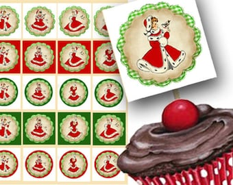 Christmas cupcake Toppers Digital, Red Holiday Circles, Digital Download, Holiday Favor Tags, Christmas gift Tags, Party Toppers, Printa
