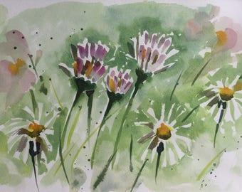Original watercolour painting of white daisies