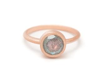 Labradorite in Rose Gold Gemstone Ring - Rose Gold Ring - Gemstone Ring - Sizes 4.5, 5, 5.5, 6, 6.5, 7, 7.5, 8, 8.5, 9, 9.5 and 10
