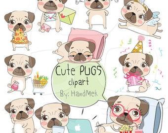 Cute PUGS set 1 ,Kawaii pug clipart instant download PNG file - 300 dpi