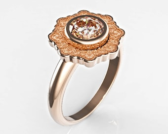 Diamond Solitaire Engagement Ring, Rose Gold Engagement Ring, Rose Gold Diamond Ring, Rose Gold Halo Ring, Diamond Engagement Ring,Lace Ring