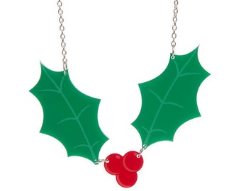 Holly necklace - laser cut acrylic perspex traditional christmas festive leaf leaves plant green