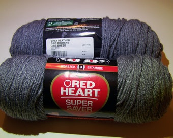 Grey Heather Red Heart Super Saver yarn worsted weight - 1002