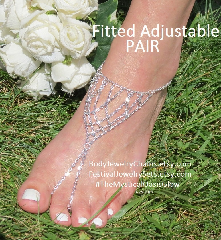 Silver chain barefoot sandals, sparkly beach foot jewelry, barefoot wedding beach sparkly sandals Jewelry, Silver chain anklets nickel free & adjustable 39508f