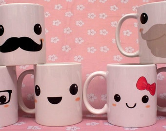 Unique Sublimated Kawaii Cups/Mugs. Geek, Girl, Gentleman, Old Man, Pirate and Happy Kawaii faces Great as a Gift or for your own Home!