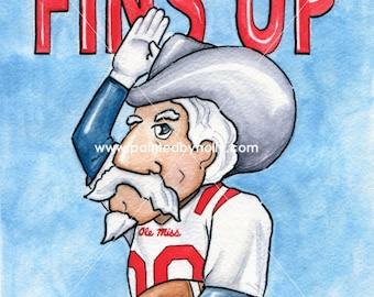 Ole Miss Rebels Football FINS UP Art Print // Col Reb Artwork // Colonel Rebel Watercolor Painting