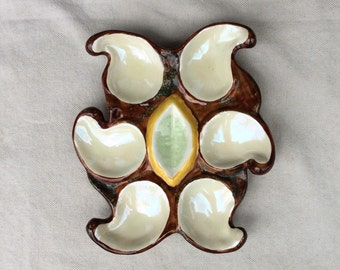 Antique French Oyster Plate -Majolica -Vallauris Pottery