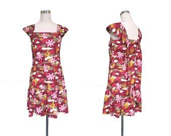 Burgundy Red Sun Dress - Floral Dress - Vintage Dress - Summer Dress - Painted Flowers Dress