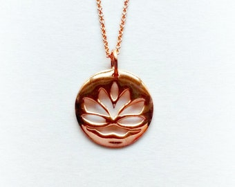 Rose Gold Lotus Necklace, Gold Buddhist Pendant, Gifts for Her, Gifts under 25, Yoga