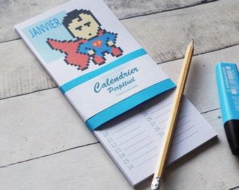 perpetual calendar with super heroes, Birthday calendar