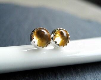 Citrine Earring Studs, November Birthstone, Citrine Jewelry, Birthstone Jewelry, Gemstone Earrings, Sterling Silver Hypoallergenic (E273)