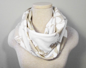 Chunky Infinity Scarf - Tan Floral Scarf - Knit Scarf