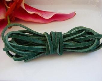 Green suede cord, 3 meters, 9.8 feet
