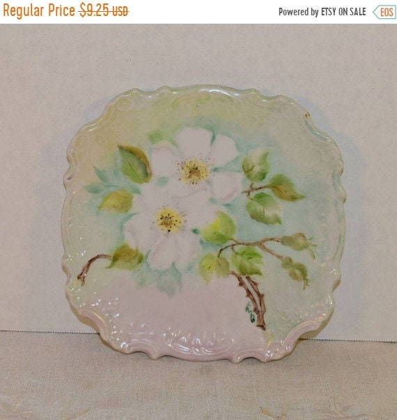Delayed Shipping Artist Signed Magnolia Plate Vintage Hand Painted Floral Decorative Plate Scalloped Embossed Afternoon Tea Party Dish Gifts