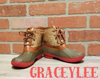 Womens Glitter Duck Boots