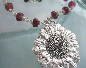 Handcrafted Artisan Silver Daisy and Watermelon Tourmaline Necklace
