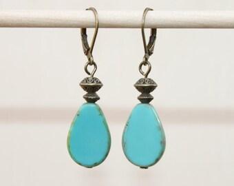 Turquoise Earrings Dangle Earrings Drop Earrings Czech Glass Earrings Brass Earrings Christmas Gift For Her Gift For women