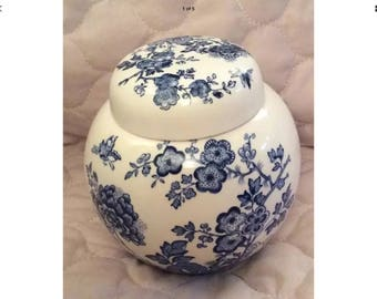 Vintage - Blue & White Ginger Jar - Masons Ironstone - VGC