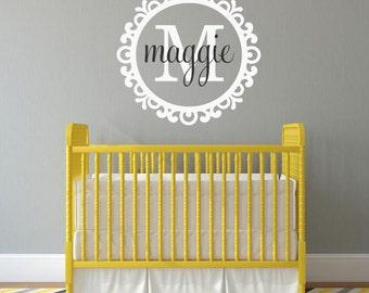 Name Initial Monogram Vinyl Wall Decal Elegant Border Frame - Personalized Fancy Border Vinyl Lettering Wall Words Custom Baby Nursery Decor