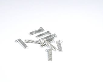 BR851 - Set of 10 charms silver metal comb
