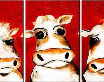 3 Head Cows, 3 Panels Canvas, Digital Print, Wall Art ,Animals,Nature