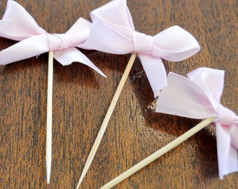 Food Picks Hors D'ouevres pink bows, ribbon Set of 12 Food Decoration, tooth picks wedding bridal shower party white