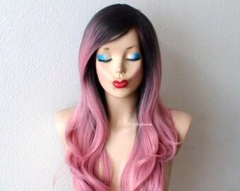 Pastel wig. Blush pink wig. Mauve Pink wig. Dark roots wig. Long wavy hair long side bangs wig.
