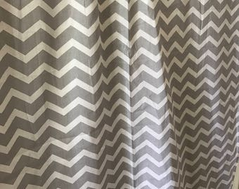 Gray and white chevron curtain panels choose size