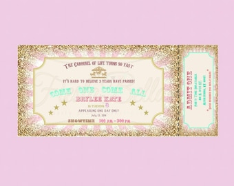 Carousel birthday ticket style Invitation. Mint, green, pink, gold, glitter, bunting. Printable, DIY. Birthday, bridal shower, baby shower.