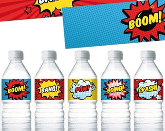 Superhero Water Bottle Labels. Printable Comic Book Bottle Labels - Wrappers - Wraps - Covers. Baby Shower - Kids Birthday Party Labels