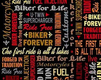 Bikers For Life, Words allover on Black,Quilting Treasures
