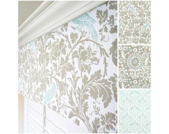 """Taupe Valance.Light Blue Window Valance.Blue Damask Valance.Kitchen Valance.Bird Valance.Floral Valance Panel.52""""x15"""".Any Size"""