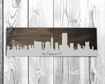 San Francisco California Skyline - Wood Sign - Wall Decor - Housewarming gift