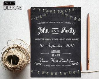 Chalkboard Wedding Invitation Printable, Wedding Invitation Printable, Wedding Invite, Printable Wedding Invitation, Chalboard Invitation