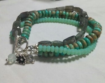 SS Labradorite and Turquoise Bracelet & Earrings