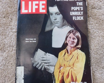 Vintage LIFE Magazine March 20, 1970 featuring a photo of Diane Knapp formerly Sister Ann Rafael.