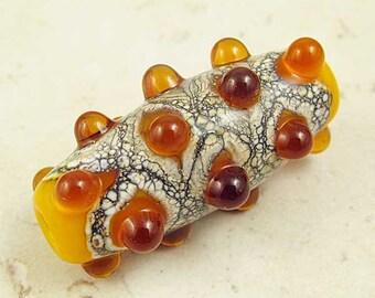 Yellow and Amber Lampwork Glass Bead Handmade Organic Focal