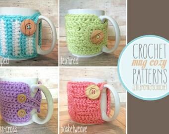 PDF PATTERN Mug Cozy, Set of 4 cozy patterns, coffee cozy, crochet cozy pattern, tea cozy pattern, crochet mug cozy pattern, PDF cozy