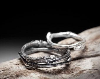 twig wedding band set, sterling silver branch rings - Elvish You Belong Together