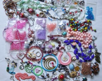 Colorful Destash of Jewelry Crafting Pieces Lots of Beads Upcycle Repurpose