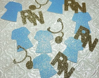 Choose color! RN Nurse Medical stethoscope scrubs nursing confetti die cuts hospital birthday party favor decorations graduation table decor