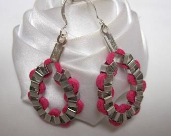 fancy round link chain earrings