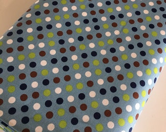 Cotton Fabric by the Yard, Quilting Fabric, Campsite Critters, Blue Polka Dot, Camping Outdoors,  Gift for Baby, Quilt, Choose the cut