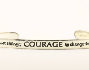 Vintage Inspirational Quotes Courage Cuff Bracelet Sterling Silver BR 2282