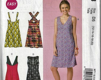 McCall's #M7118~Misses' Easy Breezy Skipper Back-Detail Dress~Misses' Sz 4-12~New and Uncut Factory Folded