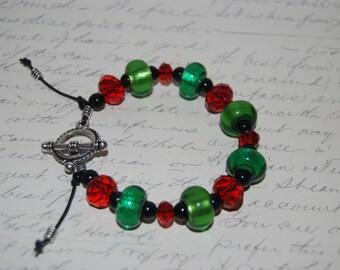 Red Crystal, Green Black Glass Bracelet